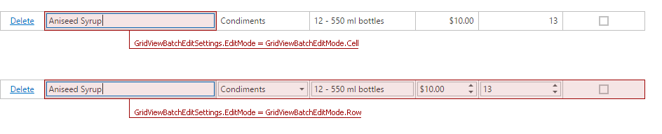 ASPxGridView Batch Mode Edit Mode