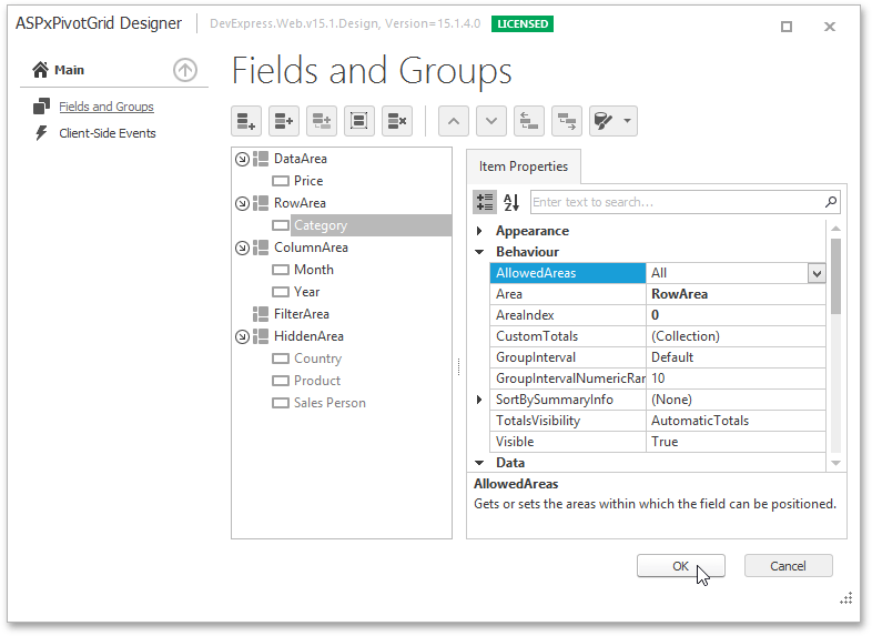 Fields And Groups Page Asp Net Controls And Mvc Extensions Devexpress Documentation