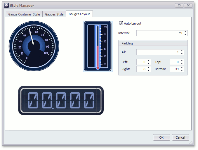 Style Manager - Gauges Layout