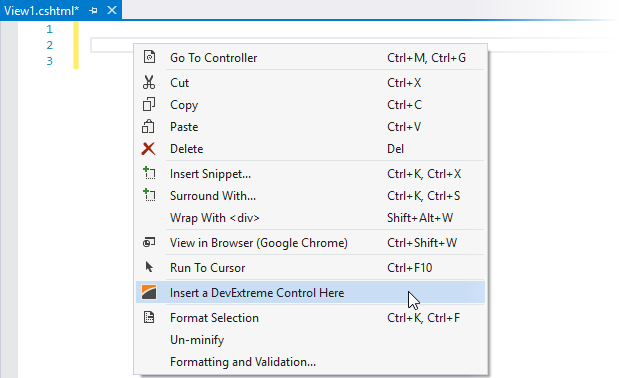 Insert a DevExtreme Control Here on the context menu