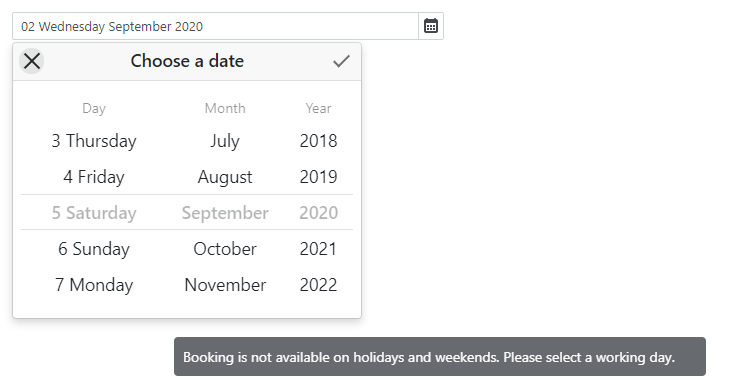 Date Edit Disabled Date Notification