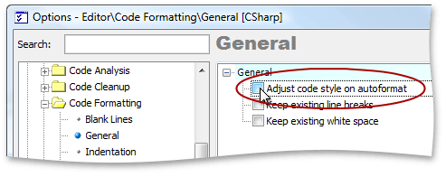 EnableCodeFormatting