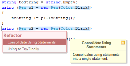 rsConsolidateUsingStatements