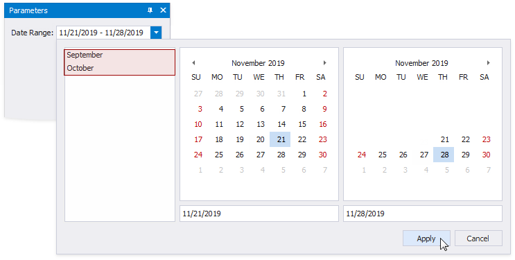 A user specifies a start date and an end date. The custom **September** and **October** date ranges are available.