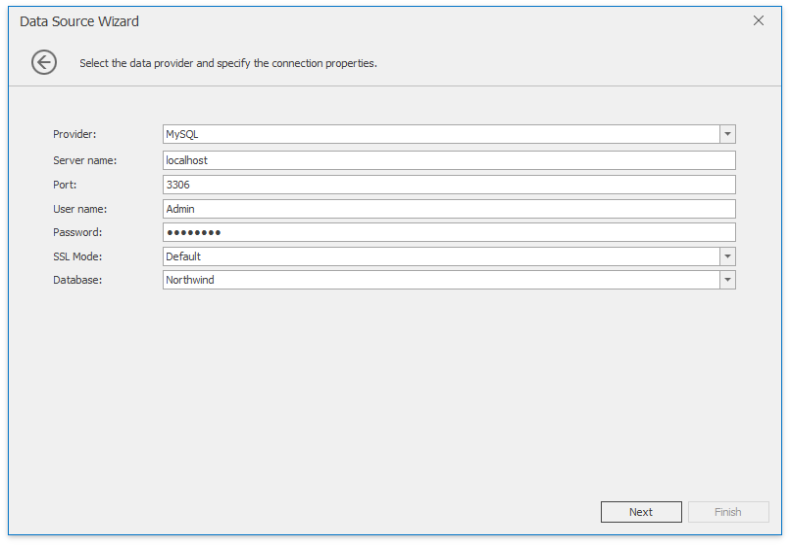 MySQL | Dashboard | DevExpress Documentation