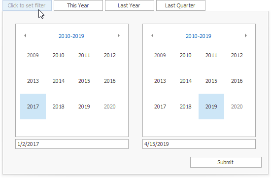Date Filter - Date Picker Drop-Down