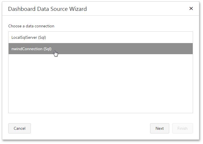 Register Default Data Connections | Dashboard | DevExpress