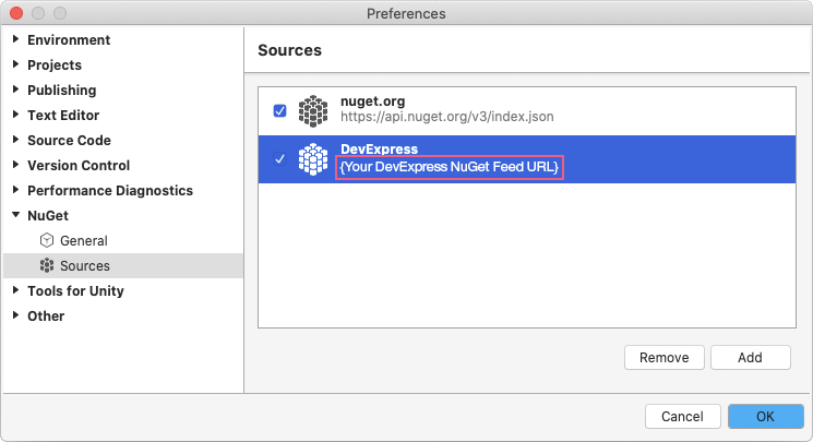 Register NuGet Feed - Visual Studio for Mac