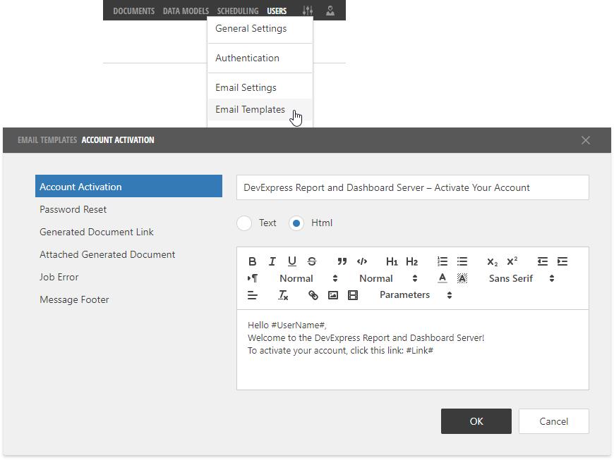 Email Templates | Report Server | DevExpress Documentation