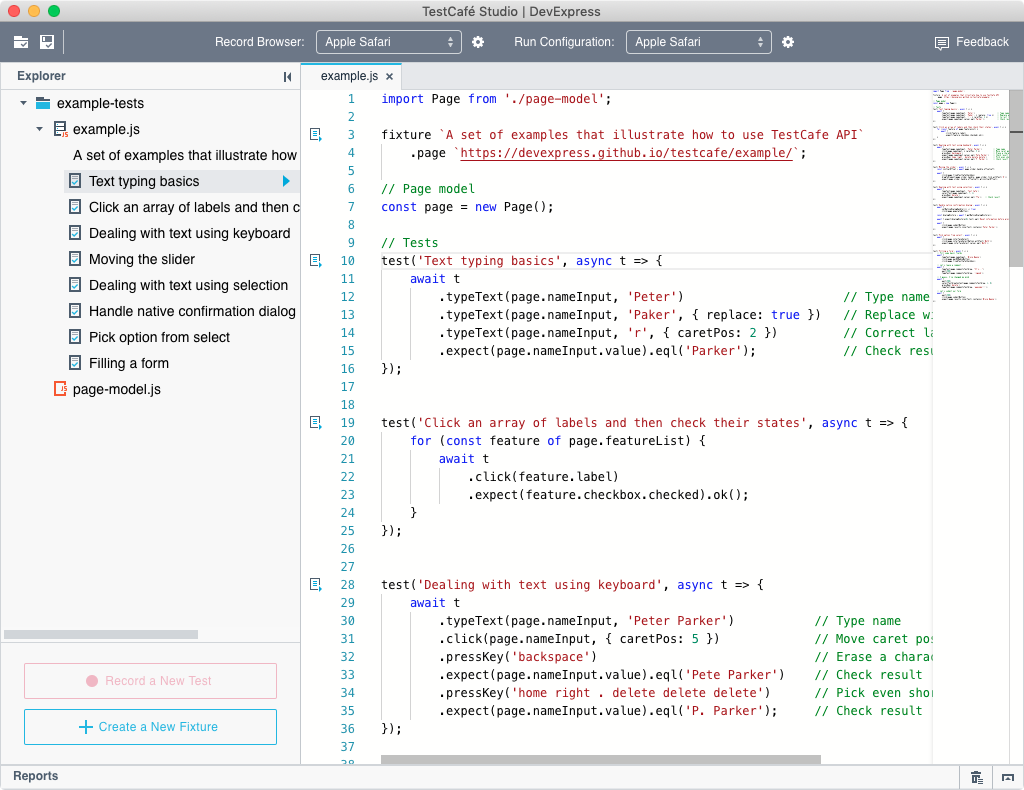 A TestCafe open source test opened in the Code Editor