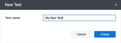 New Test dialog