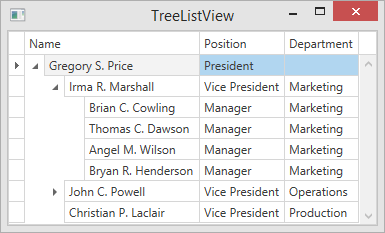 Creating and assigning views treelist