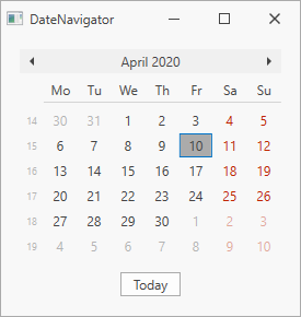 DateNavigator - FirstDayOfWeek property