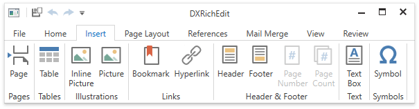 DXRichEdit_BookmarksAndHyperlinks_Ribbon