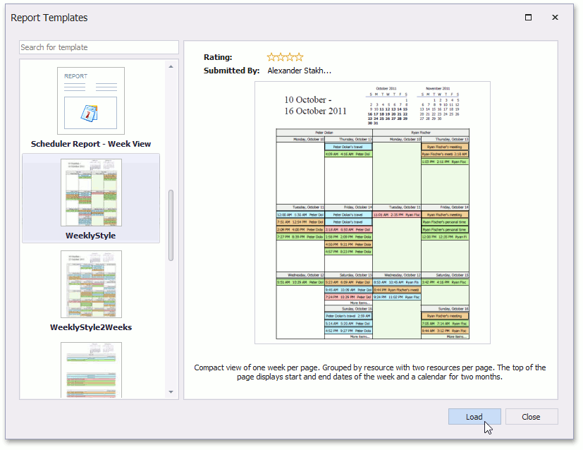 DXScheduler_Report_SelectTemplate