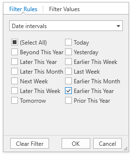 Filter rules for DateTime values
