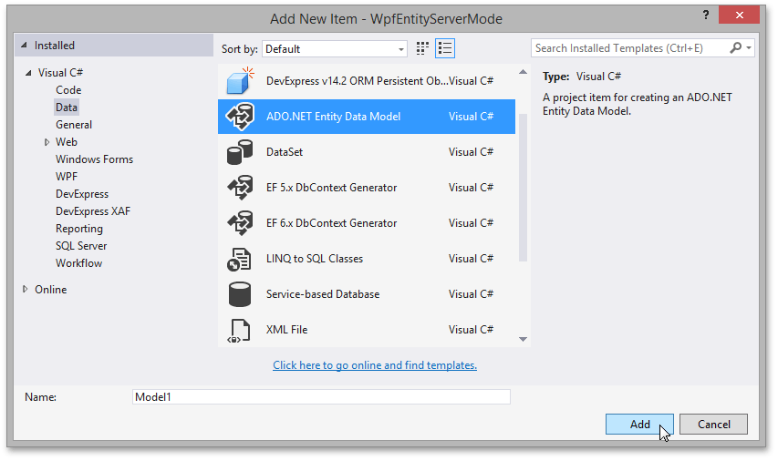 WPF Server Mode - Add Entity Component
