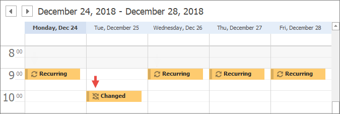 Scheduler - Appointments - Changed Occurrence