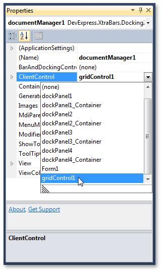 DocumentManager - Client Control VS Properties
