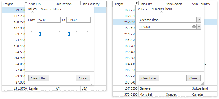 Grid - Excel Filter Dropdown Menu Numeric Data
