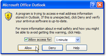 Outlook security warning
