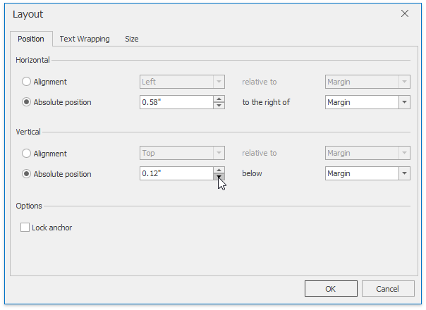Shape Layout - Position tab