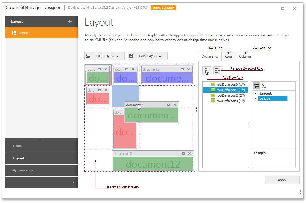 WidgetView - TableLayout Designer