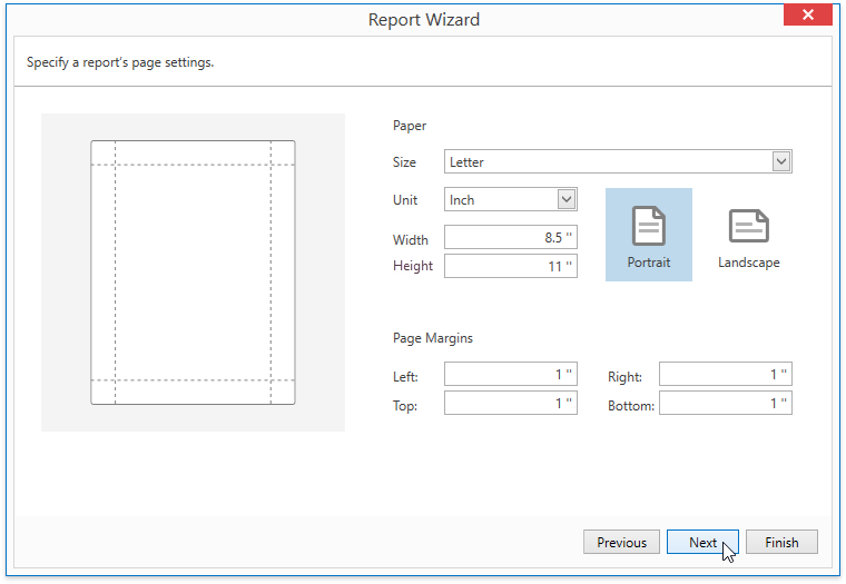 WPF-ReportWizard-SpecifyReportPageSettings
