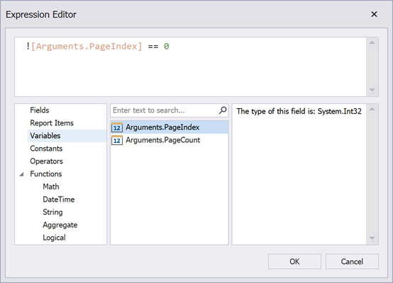 Expression Editor for the PrintOnPage event