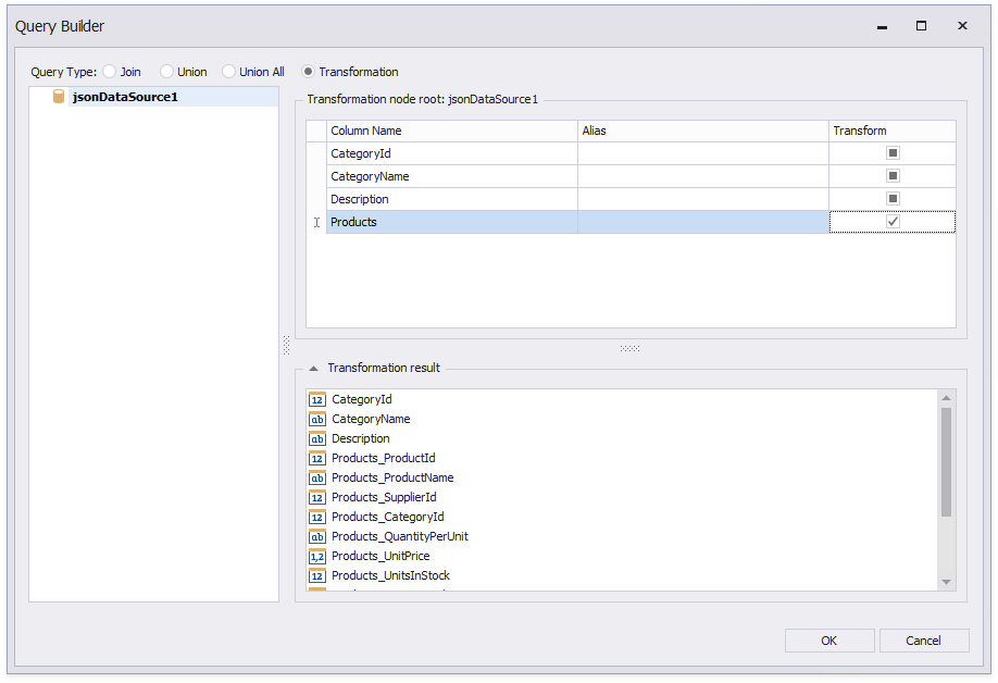 Build a Transformation Query