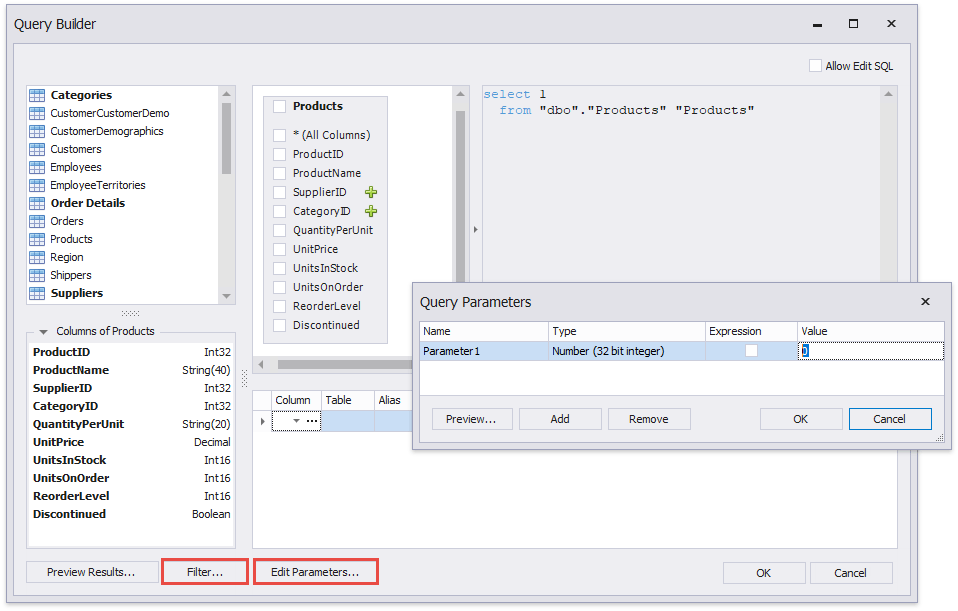 Query Parameters | Reporting | DevExpress Documentation