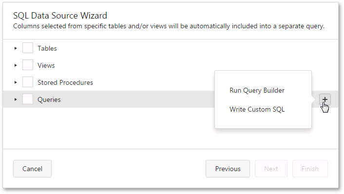 web-designer-report-wizard-02-select-queries-custom-query-context-menu