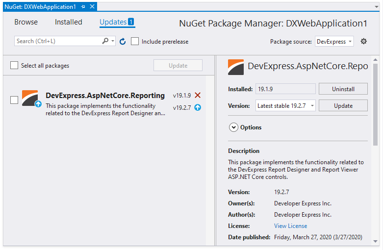 web-nuget-package-update