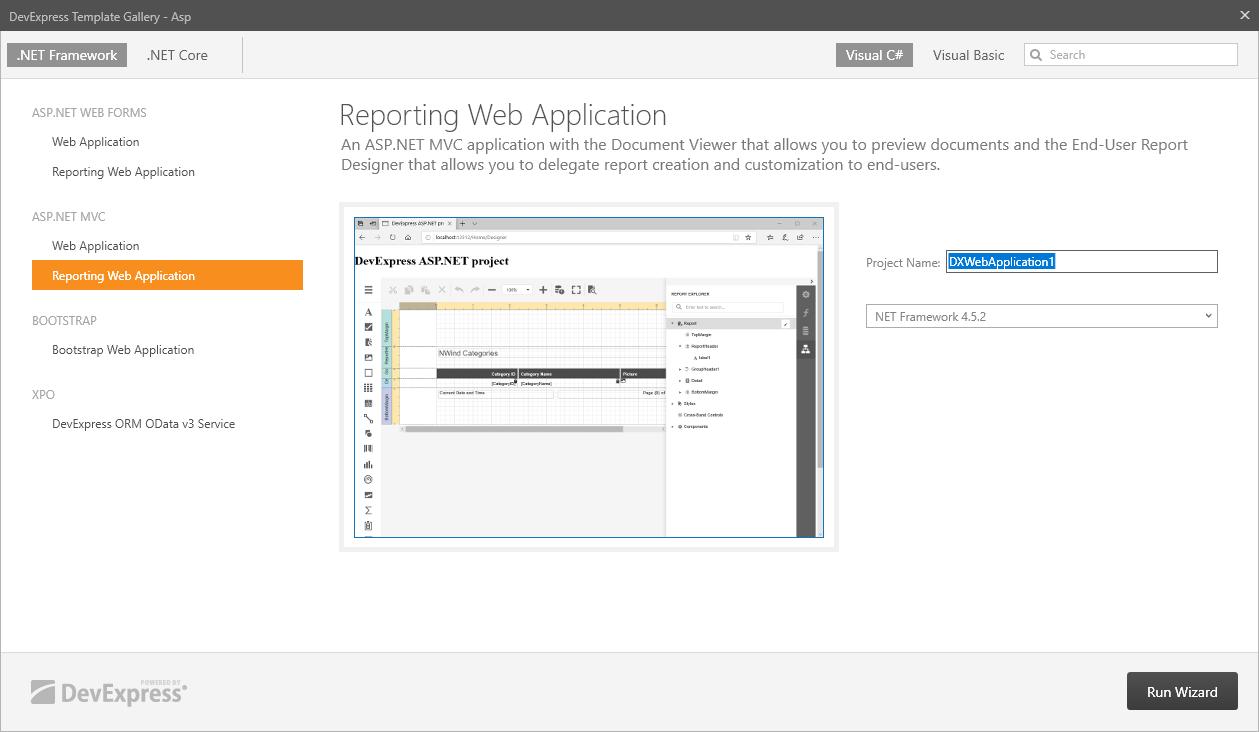 Create An Asp Net Mvc Application With A Report Designer Reporting Devexpress Documentation
