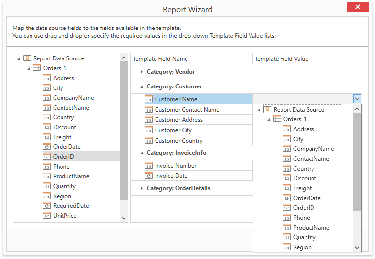 wpf-report-wizard-template-report-map-fields-drop-down