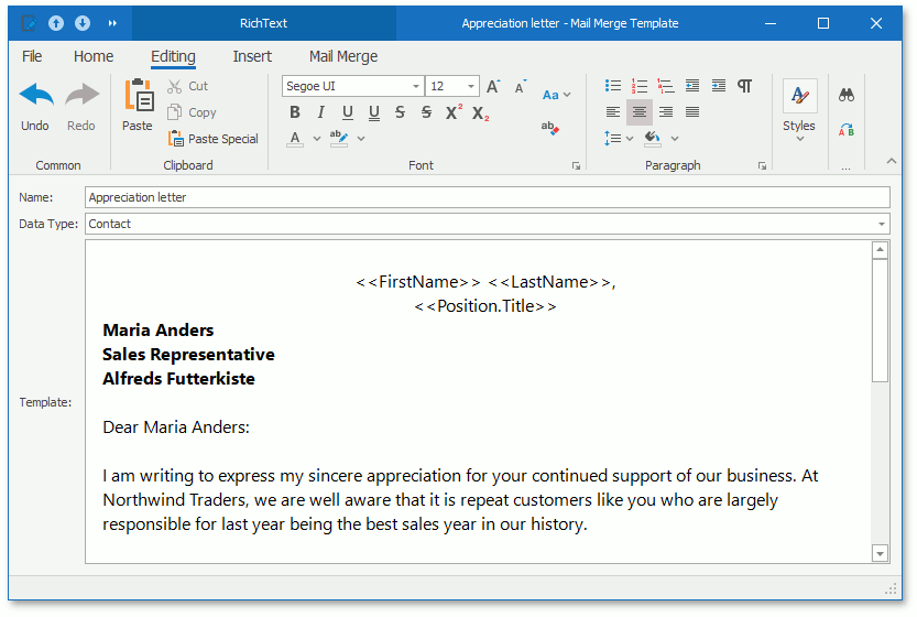 A Mail Merge template in a WinForms application