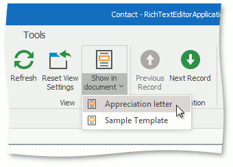 **Show in document** in a WinForms application