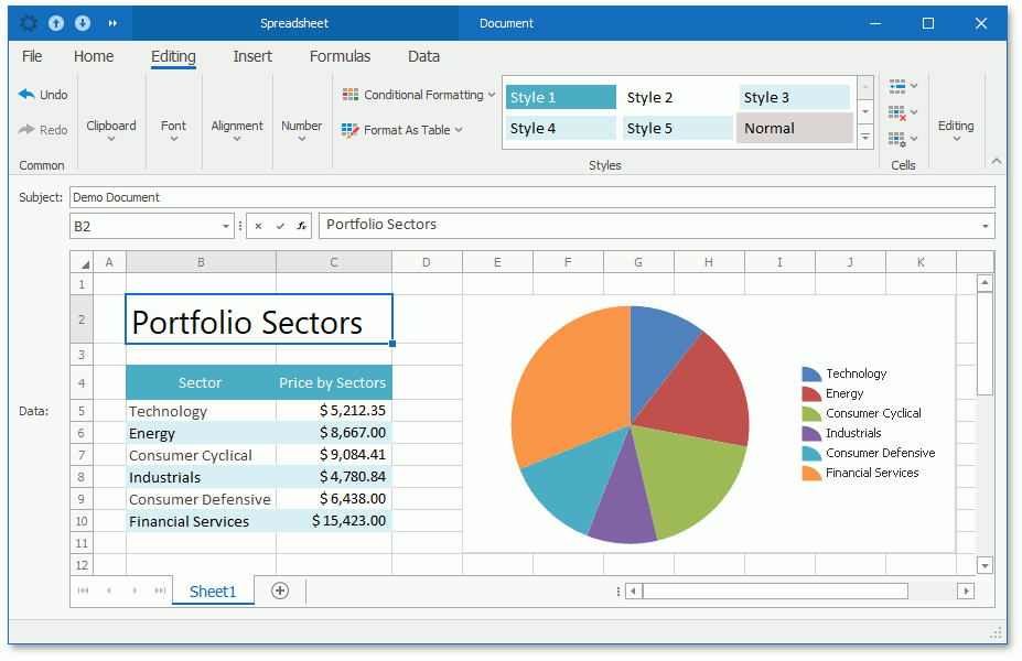 The SpreadsheetPropertyEditor in a WinForms application