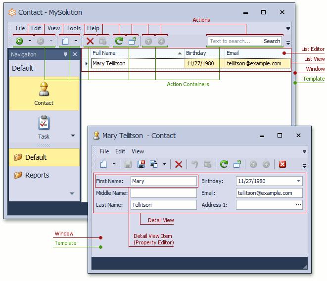 UI Element Overview | eXpressApp Framework | DevExpress